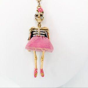 Betsey Johnson Ballerina Skeleton Skull Necklace
